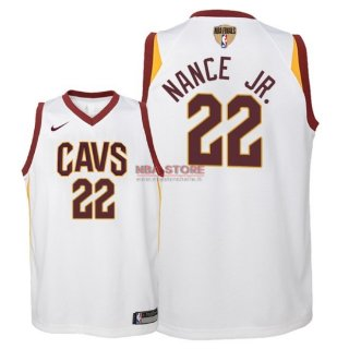Divise Basket Personalizzate NBA Bambino Cleveland Cavaliers Finale Campioni 2018 NO.22 Larry Nance Jr Bianco Association Patch