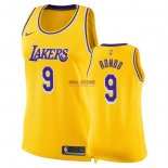 Divise Basket Personalizzate NBA Donna Los Angeles Lakers NO.9 Rajon Rondo Giallo Icon 2018/2019