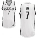 Divise Basket Personalizzate NBA Brooklyn Nets NO.7 Jeremy Lin Bianco