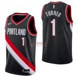 Divise Basket Personalizzate NBA Portland Trail Blazers NO.1 Evan Turner Nero Icon 2017/2018