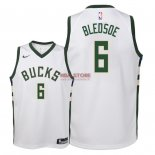 Divise Basket Personalizzate NBA Bambino Milwaukee Bucks NO.6 Eric Bledsoe Bianco Association 2018