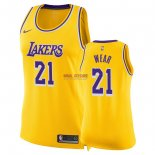 Divise Basket Personalizzate NBA Donna Los Angeles Lakers NO.21 Travis Wear Giallo Icon 2018/2019