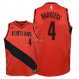 Divise Basket Personalizzate NBA Bambino Portland Trail Blazers NO.4 Maurice Harkless Rosso Statement 2018