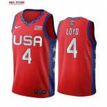 Divise Basket Personalizzate NBA 2020 Olimpiadi Tokyo USMNT Jewell Loyd NO.4 Rosso