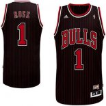 Divise Basket Personalizzate NBA Chicago Bulls NO.1 Derrick Rose Nero Striscia