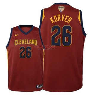 Divise Basket Personalizzate NBA Bambino Cleveland Cavaliers Finale Campioni 2018 NO.26 Kyle Korver Rosso Icon Patch