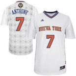 Divise Basket Personalizzate NBA New York Knicks Notti Latine Manga NO.7 Anthony Bianco