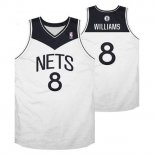 Divise Basket Personalizzate NBA Brooklyn Nets NO.8 Deron Michael Williams Bianco Nero