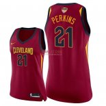 Divise Basket Personalizzate NBA Donna Cleveland Cavaliers 2018 Finale Campioni NO.21 Kendrick Perkins Rosso Icon Patch
