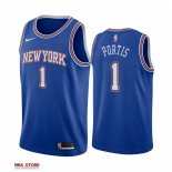 Divise Basket Personalizzate NBA New York Knicks NO.1 Bobby Portis Blu Statement 2019-20