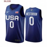 Divise Basket Personalizzate NBA 2020 Olimpiadi Tokyo USMNT Russell Westbrook NO.0 Blu