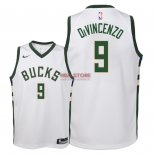 Divise Basket Personalizzate NBA Bambino Milwaukee Bucks NO.9 Donte DiVincenzo Bianco Association 2018