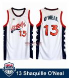 Divise Basket Personalizzate NBA 1996 NBA USA Shaquille O'neal NO.13 Bianco