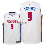 Divise Basket Personalizzate NBA Bambino Detroit Pistons NO.9 Langston Galloway Bianco Association 2018