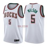 Divise Basket Personalizzate NBA Milwaukee Bucks NO.5 D.J. Wilson Retro Bianco 2017/2018