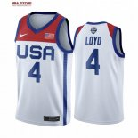Divise Basket Personalizzate NBA 2020 Olimpiadi Tokyo USMNT Jewell Loyd NO.4 Bianco