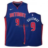 Divise Basket Personalizzate NBA Bambino Detroit Pistons NO.9 Langston Galloway Azul Icon 2017/2018