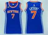 Divise Basket Personalizzate NBA Donna New York Knicks NO.7 Carmelo Anthony Blu