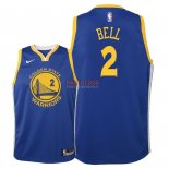 Divise Basket Personalizzate NBA Bambino Golden State Warriors NO.2 Jordan Bell Blu Icon 2018