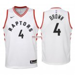 Divise Basket Personalizzate NBA Bambino Toronto Raptors NO.4 Lorenzo Brown Bianco Association 2018