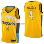 Divise Basket Personalizzate NBA Denver Nuggets NO.4 Paul Millsap Giallo Statement 2017/2018