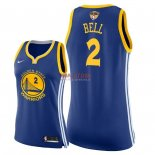 Divise Basket Personalizzate NBA Donna Golden State Warriors 2018 Finale Campioni NO.2 Jordan Bell Blu Icon Patch