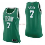Divise Basket Personalizzate NBA Donna Boston Celtics NO.7 Jaylen Brown Verde Icon 2017/2018