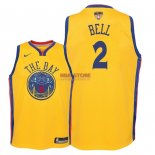 Divise Basket Personalizzate NBA Bambino Golden State Warriors Finale Campioni 2018 NO.2 Jordan Bell Nike Giallo Città Patch