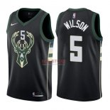 Divise Basket Personalizzate NBA Milwaukee Bucks NO.5 D.J. Wilson Nero Statement 2017/2018