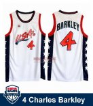 Divise Basket Personalizzate NBA 1996 NBA USA Charles Barkley NO.4 Bianco