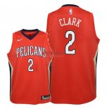 Divise Basket Personalizzate NBA Bambino New Orleans Pelicans NO.2 Ian Clark Rosso Statement 2018