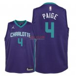 Divise Basket Personalizzate NBA Bambino Charlotte Hornets NO.4 Marcus Paige Porpora Statement 2018