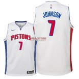 Divise Basket Personalizzate NBA Bambino Detroit Pistons NO.7 Stanley Johnson Bianco Association 2018