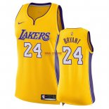 Divise Basket Personalizzate NBA Donna Los Angeles Lakers NO.24 Kobe Bryant Giallo Icon 2018
