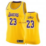 Divise Basket Personalizzate NBA Donna Los Angeles Lakers NO.23 LeBron James Giallo Icon 2018/2019
