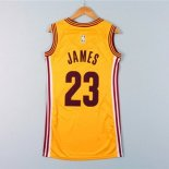 Divise Basket Personalizzate NBA Donna Cleveland Cavaliers NO.23 LeBron James Giallo