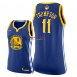 Divise Basket Personalizzate NBA Donna Golden State Warriors 2018 Finale Campioni NO.11 Klay Thompson Blu Icon Patch
