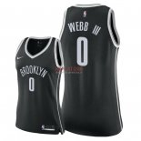 Divise Basket Personalizzate NBA Donna Brooklyn Nets NO.0 James Webb III Nero Icon 2018