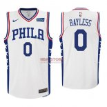Divise Basket Personalizzate NBA Philadelphia Sixers NO.0 Jerryd Bayless Bianco 2017/2018