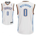 Divise Basket Personalizzate NBA Oklahoma City Thunder NO.0 Russell Westbrook Bianco