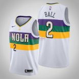 Divise Basket Personalizzate NBA Nike New Orleans Pelicans NO.2 Lonzo Ball Bianco Città 2019-20