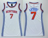 Divise Basket Personalizzate NBA Donna New York Knicks NO.7 Carmelo Anthony Bianco