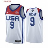 Divise Basket Personalizzate NBA 2020 Olimpiadi Tokyo USMNT A'ja Wilson NO.9 Bianco