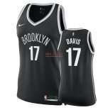Divise Basket Personalizzate NBA Donna Brooklyn Nets NO.17 Ed Davis Nero Icon 2018