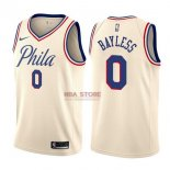 Divise Basket Personalizzate NBA Philadelphia Sixers NO.0 Jerryd Bayless Nike Crema Città 2017/2018