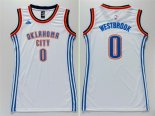 Divise Basket Personalizzate NBA Donna Oklahoma City Thunder NO.0 Russell Westbrook Bianco