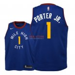 Divise Basket Personalizzate NBA Bambino Denver Nuggets NO.1 Michael Porter Jr Blu Statement 2018/2019