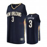 Divise Basket Personalizzate NBA Bambino New Orleans Pelicans NO.3 Stanley Johnson Nero Icon