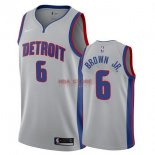 Divise Basket Personalizzate NBA Detroit Pistons NO.6 Bruce Brown Jr Grigio Statement 2017/2018