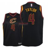 Divise Basket Personalizzate NBA Bambino Cleveland Cavaliers NO.4 Isaiah Taylor Nero Statement 2018